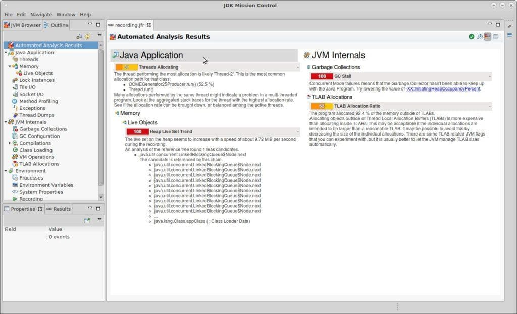 Java Mission Control 7 – Automated Analysis Results